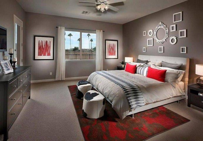 Kombinacija crvene i sive boje u spavaćoj sobi  Novi.ba