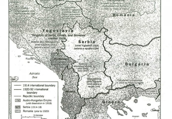 Mapa Balkana u vrijeme Prvog svjeskog rata